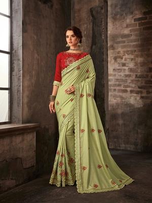Lemon Green Poly Silk Embroidered Heavy Work Saree