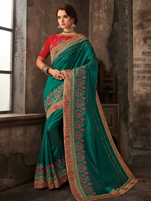 Green Poly Silk Embroidered Heavy Work Saree
