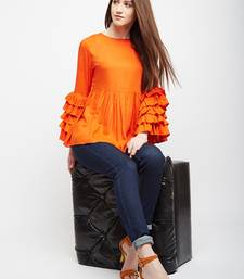 Orange plain rayon long-tops