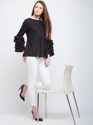 Black plain rayon long-tops