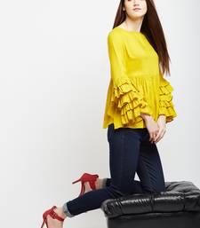 Mustard plain rayon long-tops