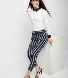 White printed polyester shirt-fabric
