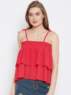 Red printed crepe crop-tops