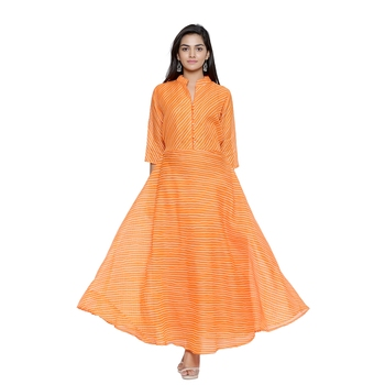 Orange Cotton Leheriya Printed Kurti