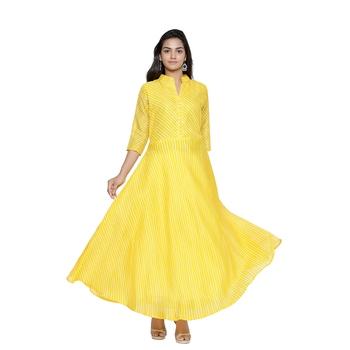 Yellow Cotton Leheriya Printed Kurti