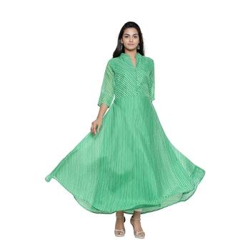 Green Cotton Leheriya Printed Kurti