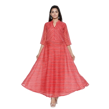 Red Cotton Leheriya Printed Kurti