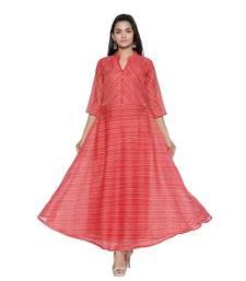 Red Cotton Leheriya Printed Kurti