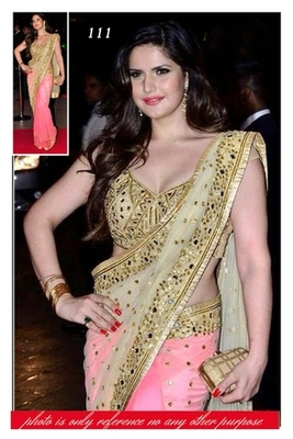 efdf16279f Cream Mirror Work net saree with blouse - HIL CREATION - 421834