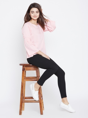 Pink plain rayon party-tops
