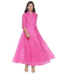 Pink Cotton Leheriya Printed Kurti