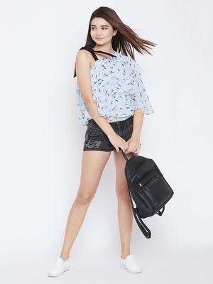 Light-blue printed polyester party-tops