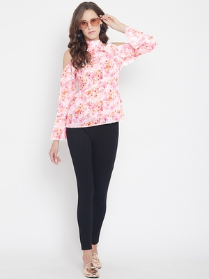 Multicolor printed georgette party-tops