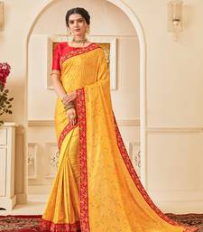Yellow Poly Silk Embroidered Heavy Work Saree