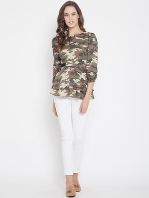 Multicolor printed crepe party-tops
