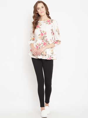 Cream printed crepe party-tops
