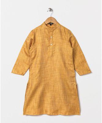 Yellow full sleeves woven fabric kurta  beige