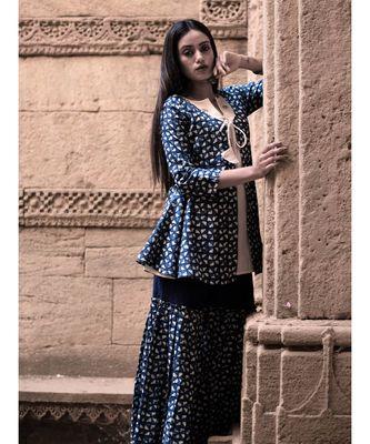 Indigo Hand Print Cottom and Khadi Sharara and Top set