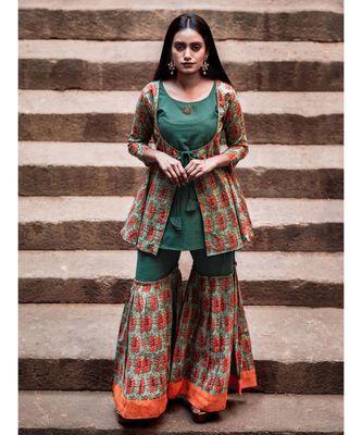 Green Hand Block Printed Cotton Long Top and Sharara Set
