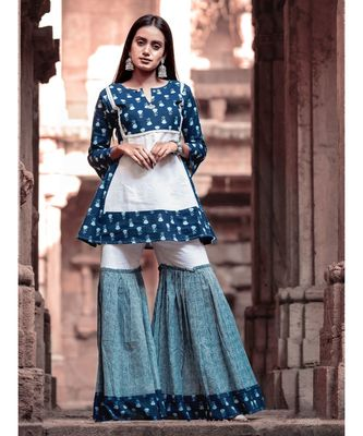 Indigo butti Printes Cotton Kurta and Sharara Set