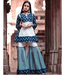 Indigo butti Printes Cotton Kurta and Sharara Set