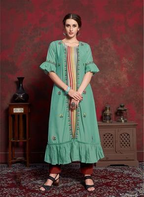 Light-green embroidered silk party-wear-kurtis