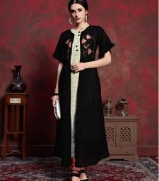 Black embroidered silk party-wear-kurtis