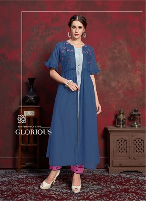 Blue embroidered silk party-wear-kurtis
