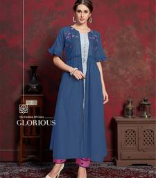 Blue embroidered silk party-wear-kurtis