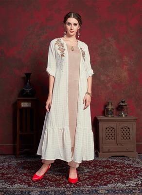 Cream embroidered silk party-wear-kurtis