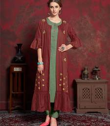 Maroon embroidered silk party-wear-kurtis