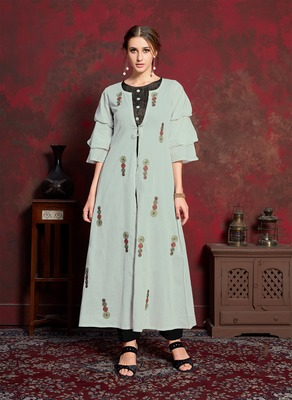 Grey embroidered silk party-wear-kurtis