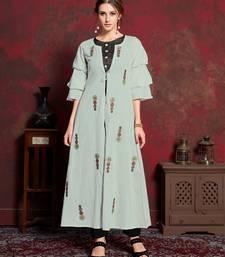 Grey embroidered silk party-wear-kurtis