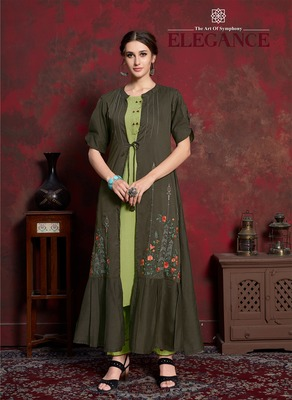Green embroidered silk party-wear-kurtis