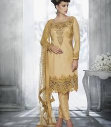 Beige Colour Tussar Silk Designer Salwar Suit