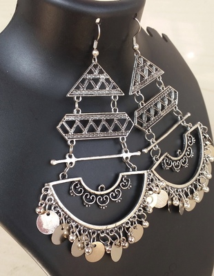 Afghani Boho Gypsy Tribal Large Size Oxidised Silver Latest Party Wear Fancy Dangler For Girls And Women
