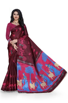 Dark maroon printed art silk saree with blouse