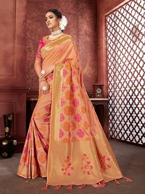 Peach woven banarasi silk saree with blouse