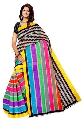 Dark multicolor printed art silk saree with blouse