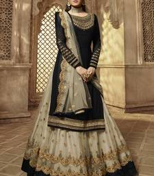 BLACK EMBROIDERED GEORGETTE INDIAN-PAKISTANI SALWAR SEMI STITCHED