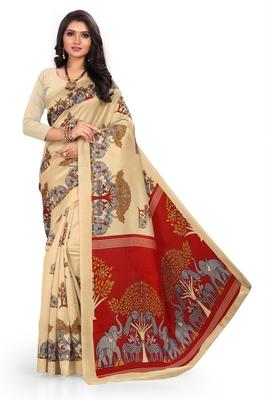 Chiku printed art silk saree with blouse