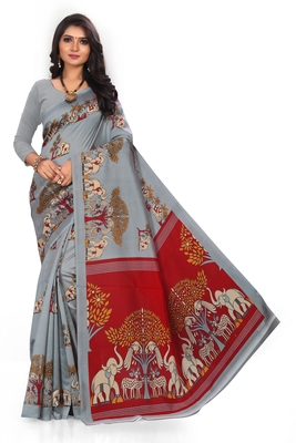 Light silver printed art silk saree with blouse