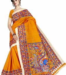 Yellow printed art silk saree with blouse