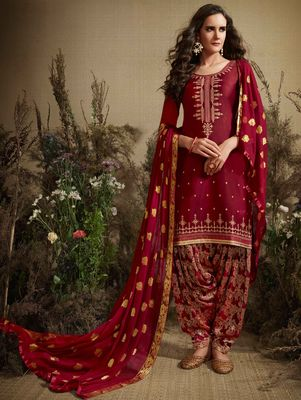 RED COTTON EMBROIDERED UNSTITCHED SALWAR WITH DUPATTA