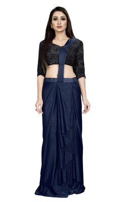 Dark blue embroidered polyester saree with blouse