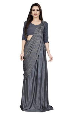 Grey embroidered polyester saree with blouse