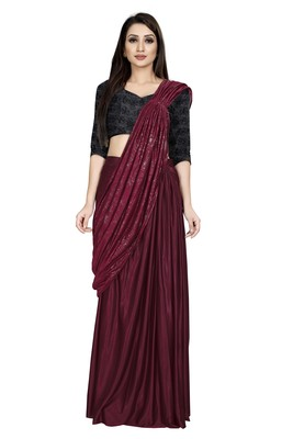 Dark blood red embroidered polyester saree with blouse