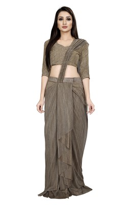 Beige embroidered polyester saree with blouse