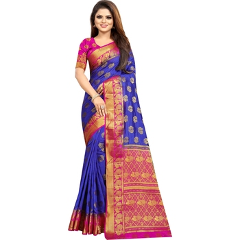 Blue woven banarasi silk saree with blouse