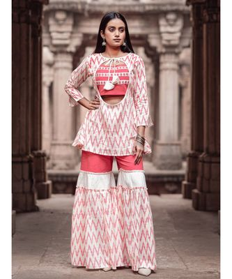 Peach and Offwhite Ikat Print Long  Cotton and khadi Top and Sharara Set